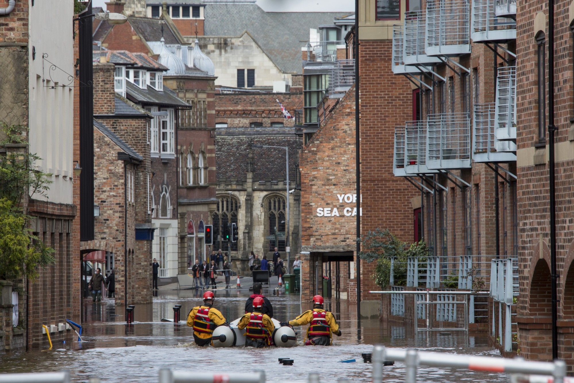 York, United Kingdom –River Ouse overflows following a period of heavy rain and floods the streets of central York