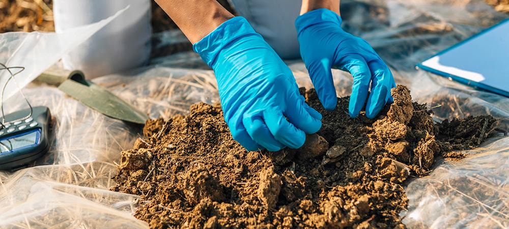 Image of an engineer sampling soil