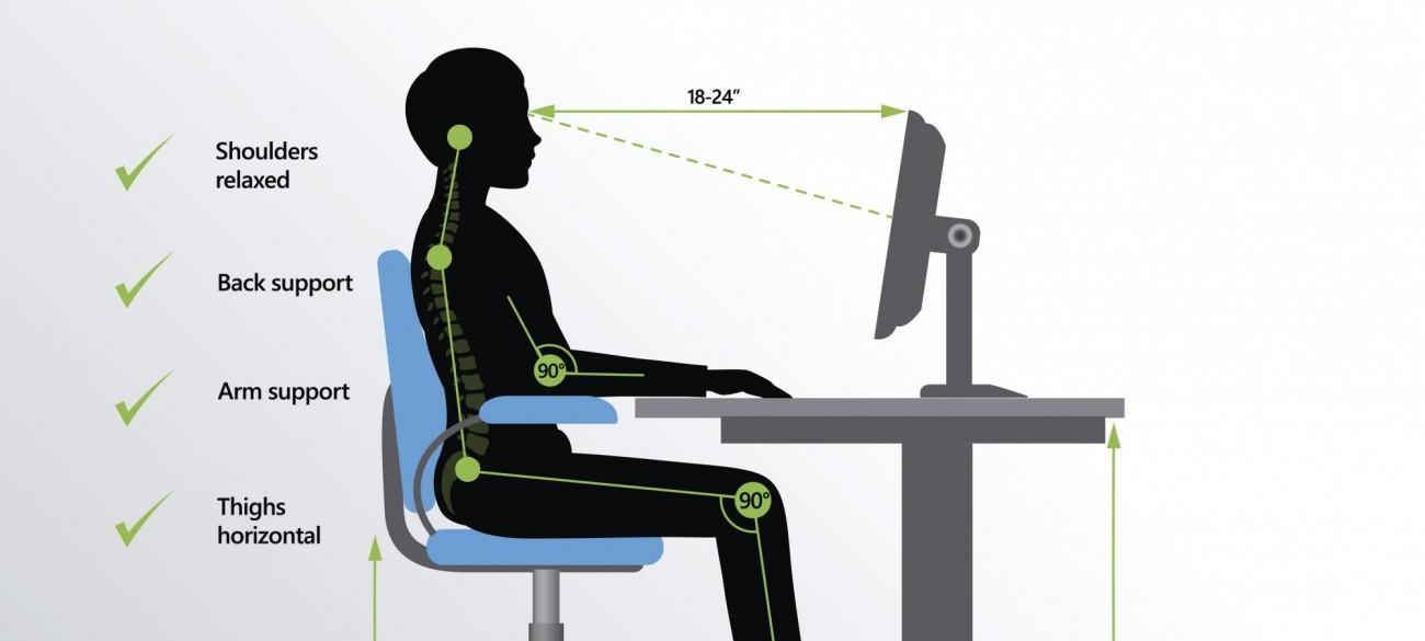 Correct sitting posture stock image